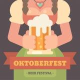 Oktoberfest flat illustration banner royalty free illustration