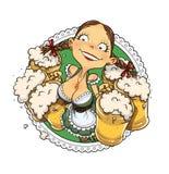 Oktoberfest flicka med exponeringsglas av öl Arkivbild