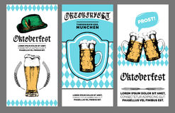 Oktoberfest flyer. Vector beer festival poster. Brewery badge with vintage hand sketched glass mugs and bavarian hat. Stock Photography