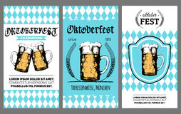 Oktoberfest flyer. Vector beer festival poster. Brewery label or badge with vintage hand sketched glass mug Stock Image