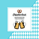 Oktoberfest flyer. Vector beer festival poster. Brewery label or badge with vintage hand sketched glass mugs Stock Photography