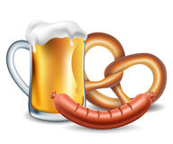 Oktoberfest food, beer, sausage and pretzel. On white Stock Image