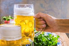 Oktoberfest food menu, bavarian sausages with pretzels, mashed potato, sauerkraut, beer stock photos