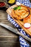 Oktoberfest food concept. Oktoberfest food menu, bavarian sausages on wooden background, copy space royalty free stock photos