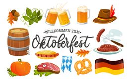 Oktoberfest food and symbols collection. Vector Oktoberfest objects and icons with lettering inscription Welcome to Oktoberfest. vector illustration