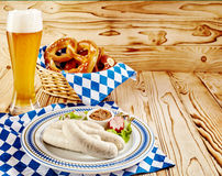 Oktoberfest food theme with copy space over wood Royalty Free Stock Photography