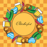 Oktoberfest frame. Cartoon Frame with Oktoberfest characters on a yellow background in the box Royalty Free Stock Images