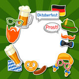 Oktoberfest frame with photo booth stickers. Design for festival and party.  Stock Photos
