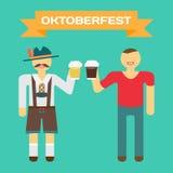 Oktoberfest german man in national costume. Men drink beer Stock Images