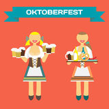 Oktoberfest german women in national costume. Girl waitress. With a tray and beer mugs. Vector flat cartoon illustration Royalty Free Stock Photography