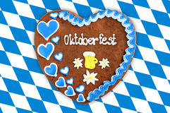 Oktoberfest Gingerbread heart with bavarian white blue flag. Royalty Free Stock Photography