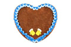 Oktoberfest Gingerbread heart cookie with ornaments and copy space. Oktoberfest is a october fest in munich germany for beer and bavarian food stock images
