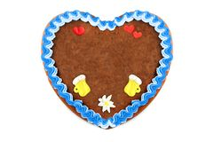 Oktoberfest Gingerbread heart cookie with ornaments and copy space. Oktoberfest is a october fest in munich germany for beer and bavarian food royalty free stock photography