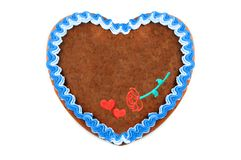 Oktoberfest Gingerbread heart cookie with ornaments and copy space. Oktoberfest is a october fest in munich germany for beer and bavarian food stock photo