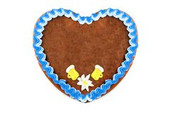 Oktoberfest Gingerbread heart cookie with ornaments and copy space. Oktoberfest is a october fest in munich germany for beer and bavarian food royalty free stock image