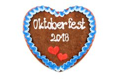 Oktoberfest 2018 Gingerbread heart engl. October festival Munic. H with white isolated background Germany Stock Images