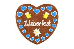 Oktoberfest Gingerbread heart engl. October festival Munich wi. Th white isolated background Germany stock photography