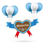 Oktoberfest Gingerbread Heart Red Balloons Royalty Free Stock Images