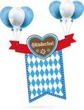 Oktoberfest Gingerbread Heart Ribbon Flag Balloons Stock Images