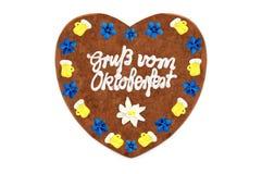 Oktoberfest 2018 Gingerbread heart. with white isolated background. Oktoberfest 2018 Gingerbread heart with german words Gruss vom Oktoberfest engl. greetz from stock photo