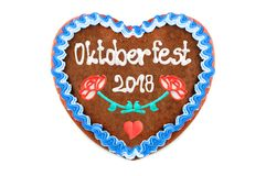 Oktoberfest 2018 Gingerbread heart with white isolated background stock photos