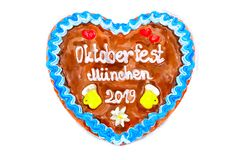 Oktoberfest 2018 Gingerbread heart with white isolated backgroun. D. Illustration royalty free stock photography