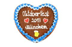 Oktoberfest 2018 Gingerbread heart with white isolated backgroun Stock Photo