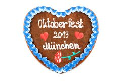 Oktoberfest 2019 Gingerbread heart with white isolated background. October festival is a seasonal beer event in Munich Germany. Traditional heart cakes royalty free stock photography