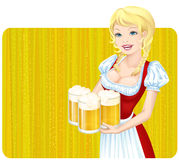 Oktoberfest girl. Illustration of a cheerful Bavarian waitress with beer mugs, dressed in dirndl stock illustration