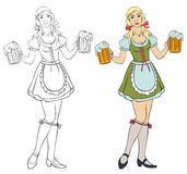 Oktoberfest - girl with beer. Cheerful Bavarian waitress holds beer mugs Royalty Free Stock Images