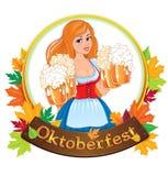 Oktoberfest girl with beer royalty free illustration