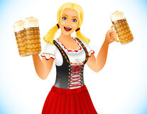 Oktoberfest Girl Beer Glass Germany Holiday. Oktoberfest Girl holden glass of beer with foamy lager. Waitress in traditional bavarian german clothes dirndl on Royalty Free Stock Photo