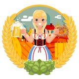 Oktoberfest girl with beer mug pretzel poster festival celebration field bacground flat design vector illustration stock illustration