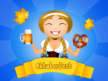 Oktoberfest girl with beer and pretzel Royalty Free Stock Photography