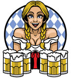 Oktoberfest girl with bunch of glass of beers Stock Photography