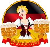 Oktoberfest girl design. Funny German girl serving beer on Oktoberfest design Royalty Free Stock Photos