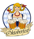 Oktoberfest Girl With Glasses Of Beer. Funny smiling Oktoberfest girl with glasses of beer.  on a white background Stock Photos