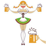 Oktoberfest girl with glasses of beer.Vector symbo Stock Image