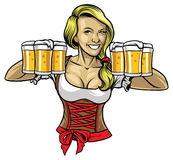 Oktoberfest girl holding the beers Royalty Free Stock Photo