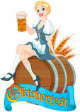 Oktoberfest girl on the keg. German girl sits on the keg and holds mug Royalty Free Stock Image