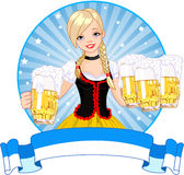 Oktoberfest girl label Stock Images