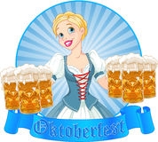 Oktoberfest girl label Royalty Free Stock Photo