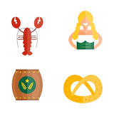 Oktoberfest girl serving beer icons vector. Royalty Free Stock Image