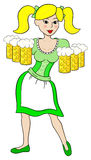Oktoberfest girl serving beer Stock Photo