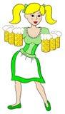 Oktoberfest girl serving beer Stock Photo