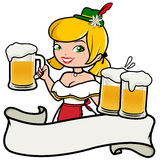 Oktoberfest girl serving beer. Girl wearing a traditional German hat and holding cold glasses of beer at Oktoberfest on white background with ribbon banner and Stock Photography