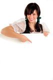 Oktoberfest Girl And Sign Royalty Free Stock Images