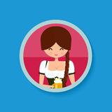 Oktoberfest girl in traditional german costume. Dress dirndl, holding a glass of beer. Circle flat banner. Cute character vector illustration Stock Image