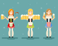 Oktoberfest Girls With Beer Icons Set Festival Celebration Symbol Flat Design Vector Illustration. Oktoberfest Girls Beer Icons Set Festival Celebration Symbol Stock Image