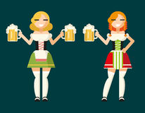 Oktoberfest Girls Female Characters Icons. Traditional Costumes Accessories Flat Design Card Vector Illustration Concept Royalty Free Stock Photos